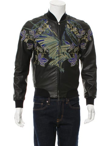 Emporio Armani Embroidered Leather Bomber Jacket None