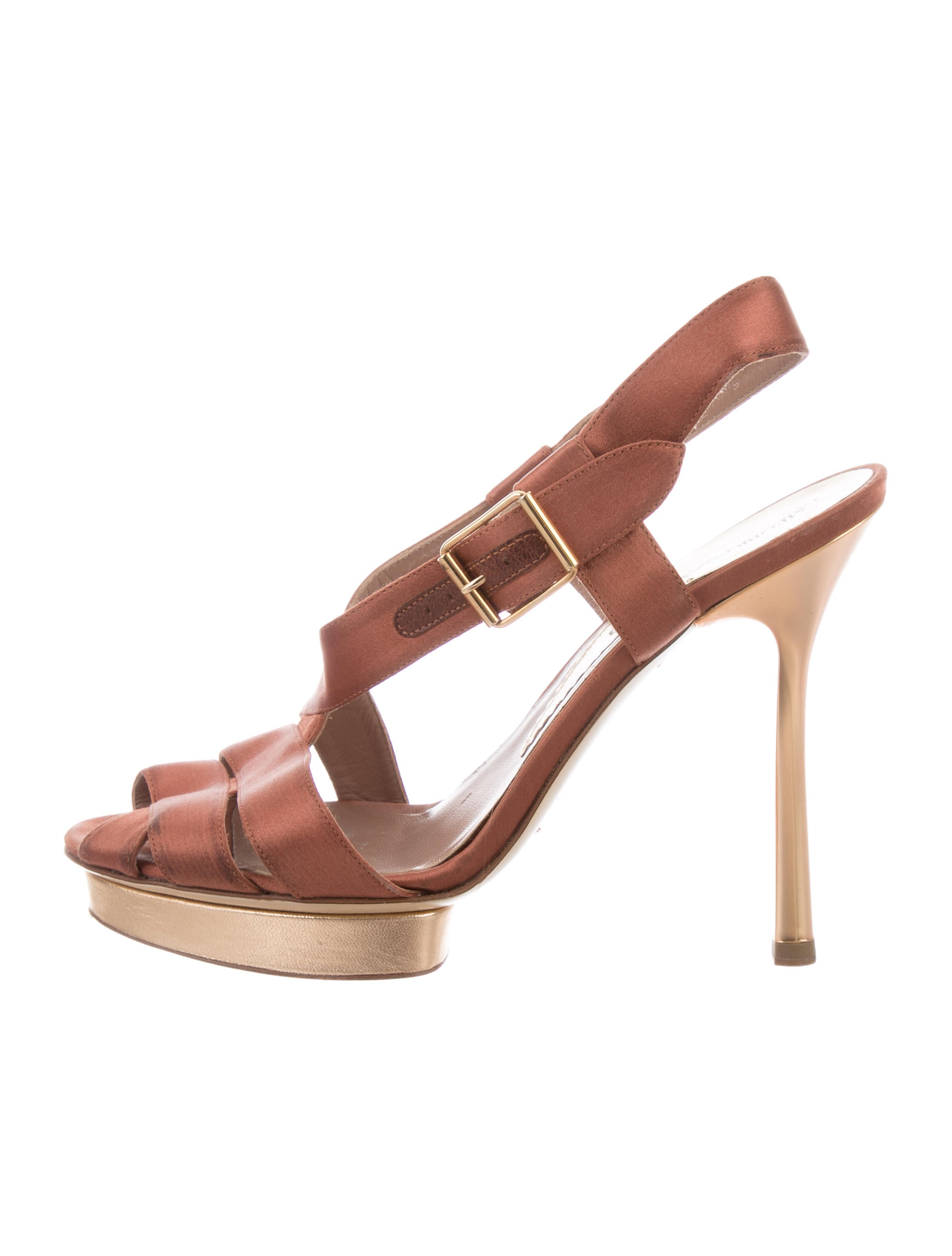 free shipping 2015 authentic sale online Emporio Armani Satin Slingback Sandals lIcmkIrk