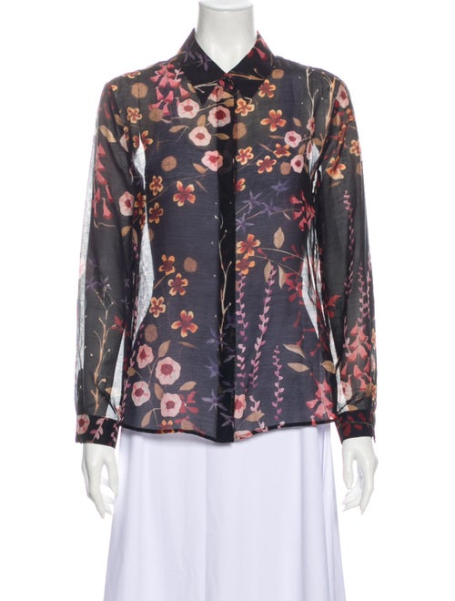 Emporio Armani Floral Print Long Sleeve Button-Up