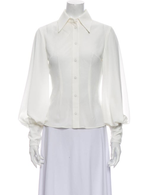 Emilia Wickstead Long Sleeve Button-Up Top White