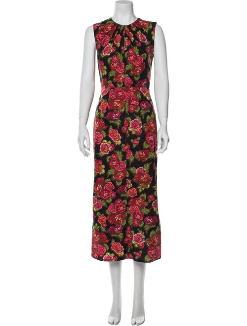 Emilia Wickstead Floral Print Midi Length Dress Bl