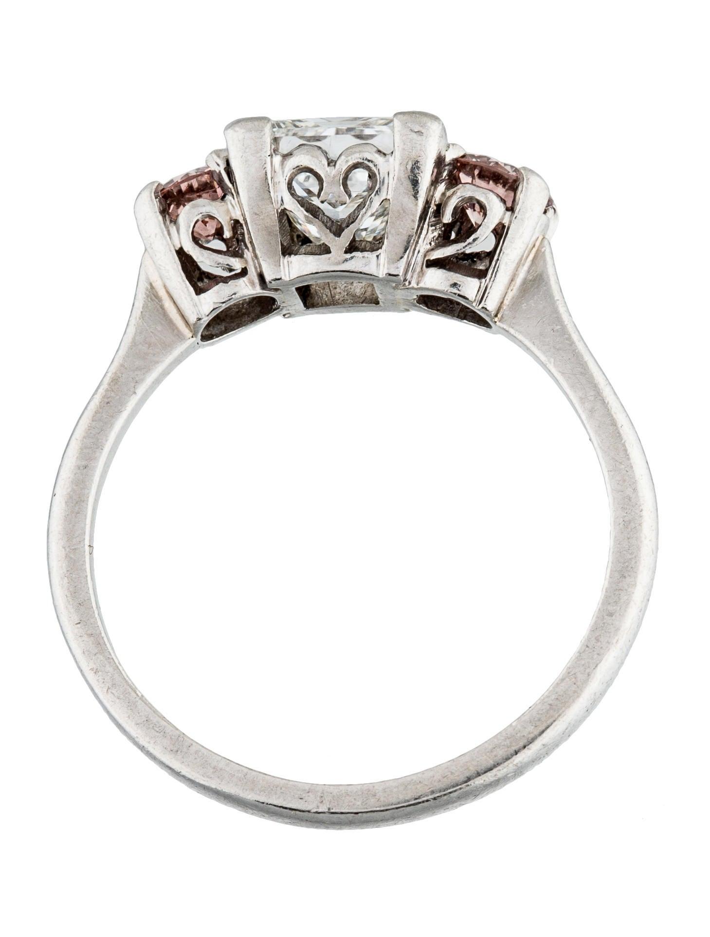 Platinum princess cut diamond three stone engagement ring for Platinum princess cut wedding rings