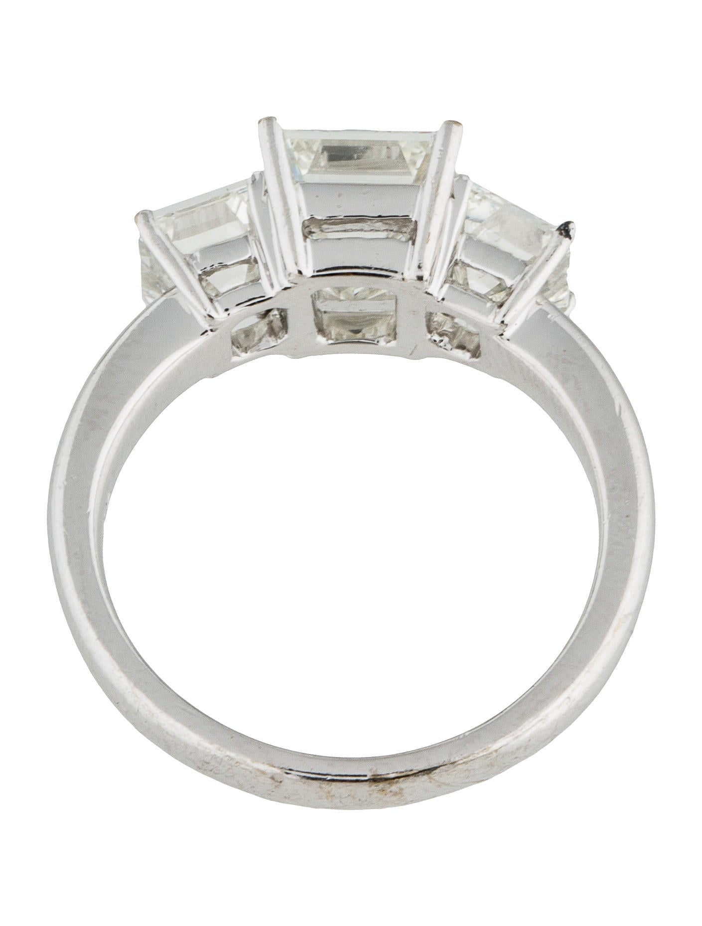 Three Stone Emerald Cut Diamond Engagement Ring Rings ENGRI