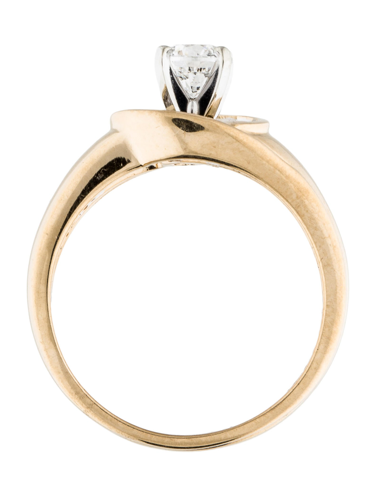 14K Round Brilliant & Baguette Diamond Wedding Ring Set Rings
