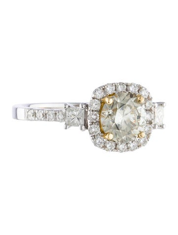 18K Diamond Halo Engagement Ring None