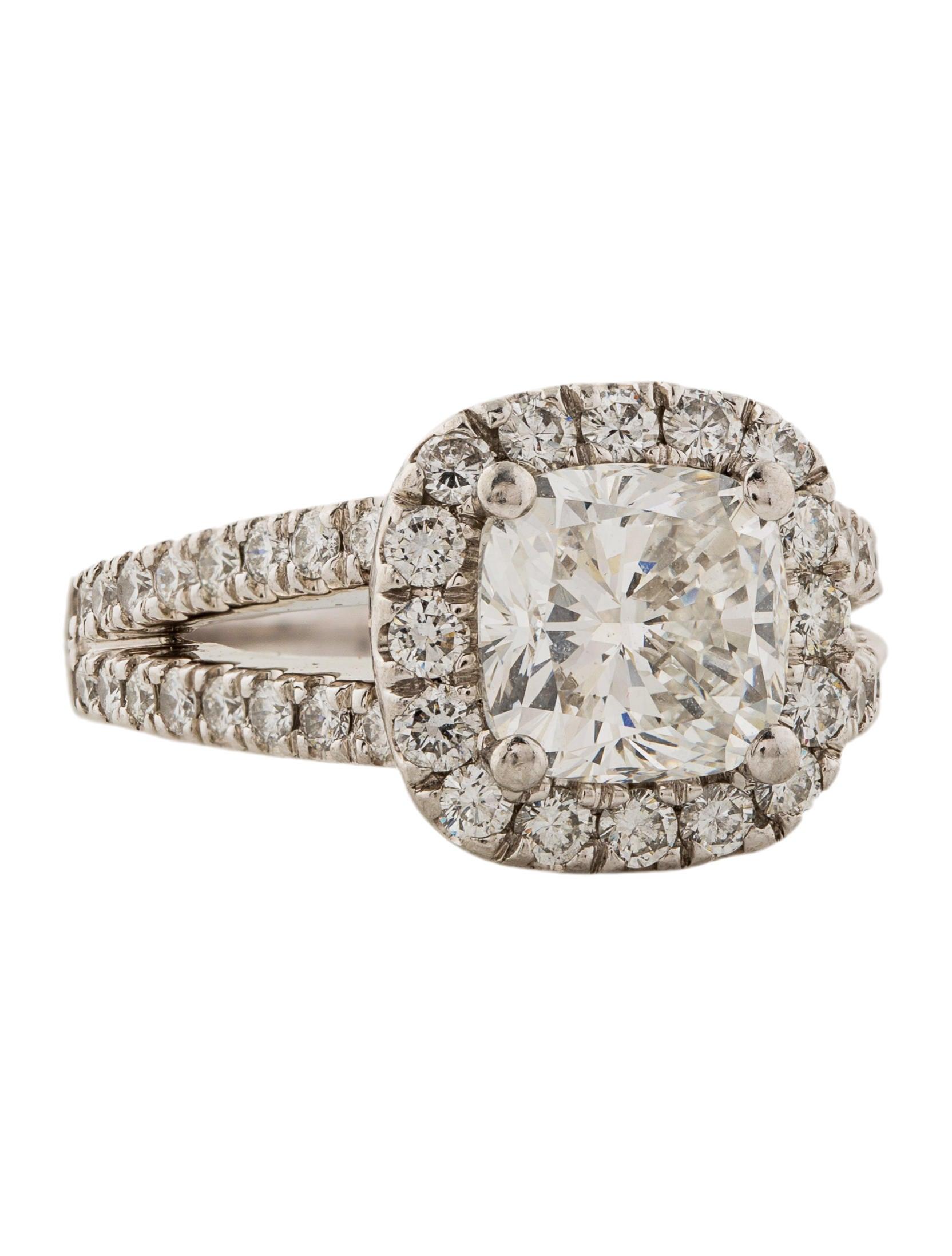 Engagement Ring Platinum 319ct Cushion Diamond Engagement Ring