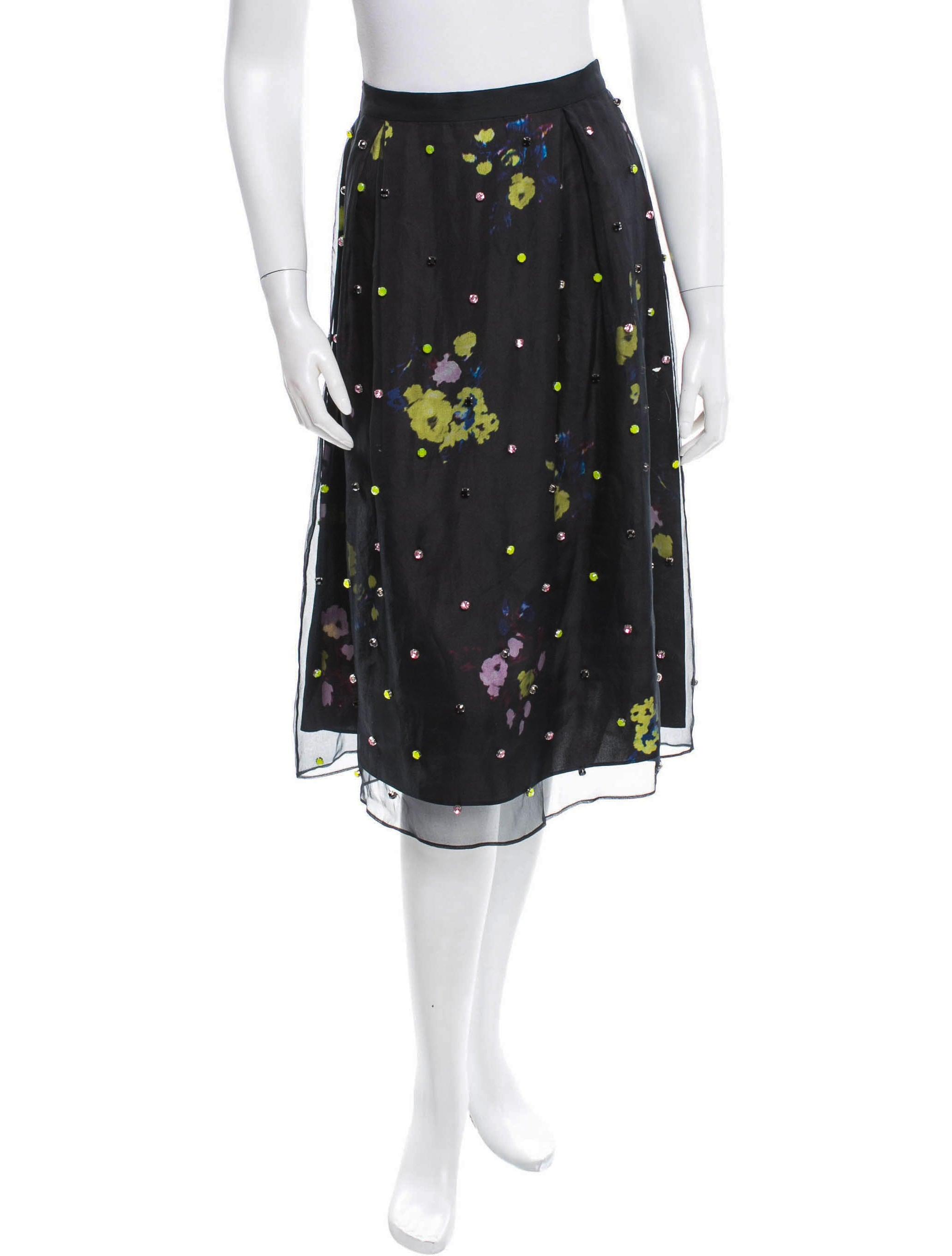 erdem silk beaded embellished midi skirt clothing