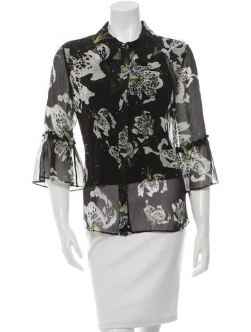 Erdem Silk Abstract Print Top