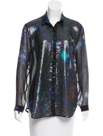 Erdem Silk Sequined Top
