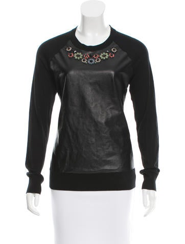 Erdem Embellished Leather-Accented Sweater None