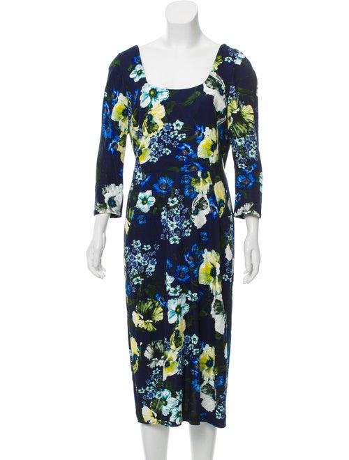 Erdem Floral Knit Dress Blue