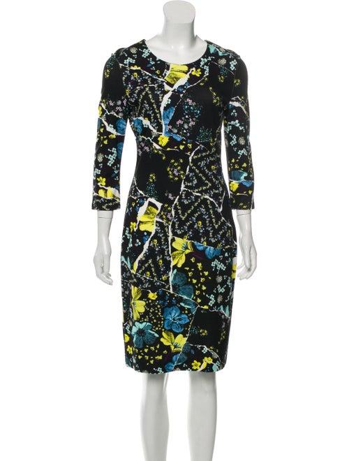 Erdem Floral Patchwork Midi Dress Black