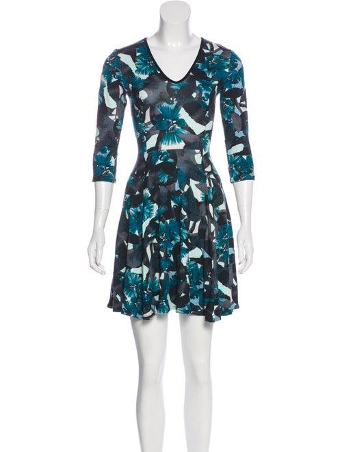 Erdem Floral Flared Dress Blue