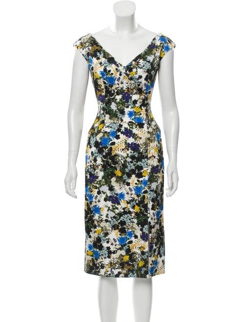 Erdem Floral Midi Dress Blue