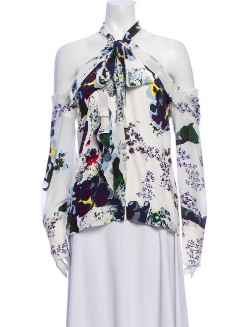 Erdem Silk Floral Print Blouse White