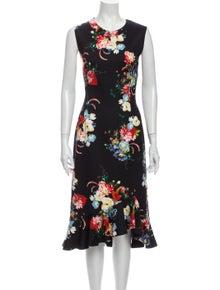 Erdem Floral Print Knee-Length Dress