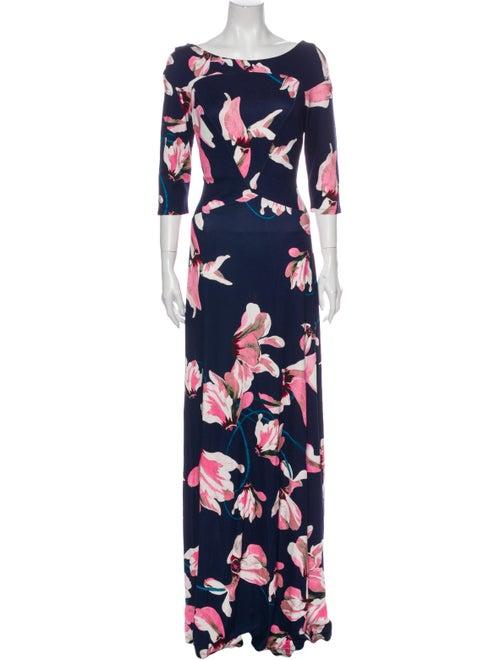 Erdem Floral Print Long Dress Blue