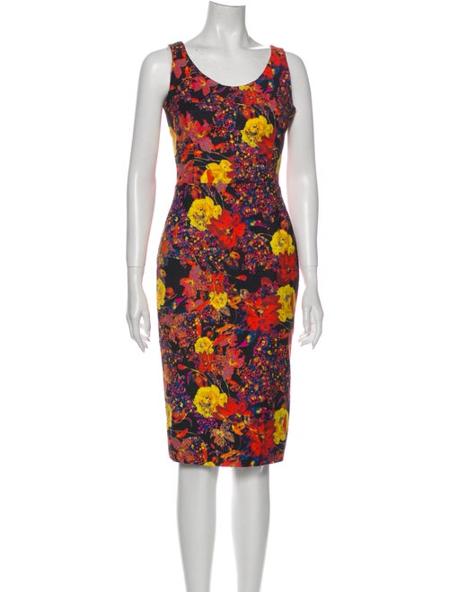 Erdem Floral Print Midi Length Dress Red