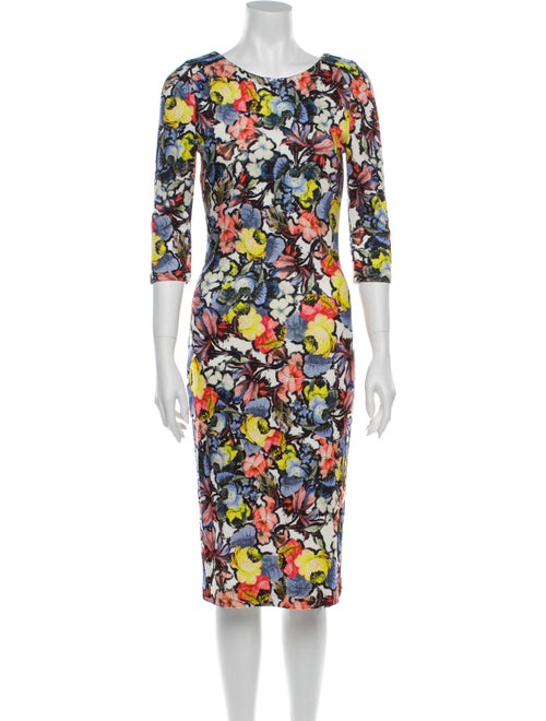 Erdem Floral Print Midi Length Dress Blue