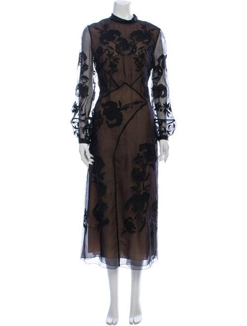 Erdem Lace Pattern Long Dress Black