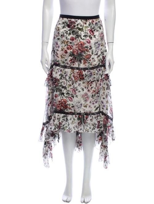 Erdem Silk Midi Length Skirt Green