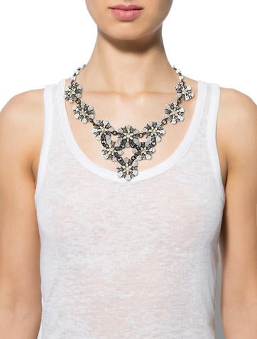 Bead and Faux Pearl Floral Collar