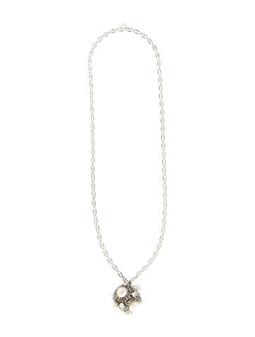 Crystal and Faux Pearl Pendant Necklace