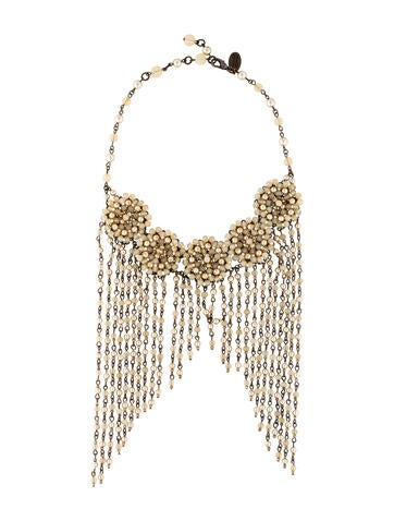 Bead Fringe Collar Necklace