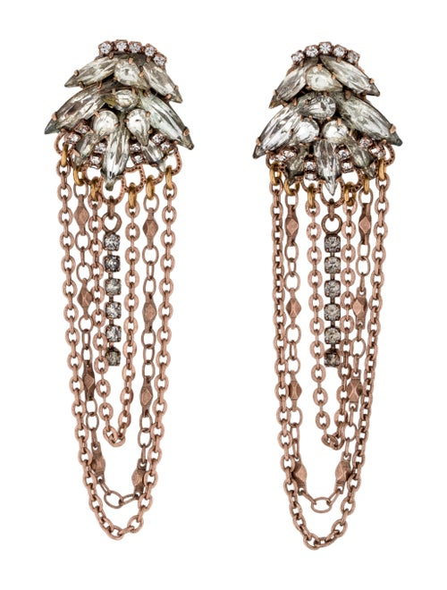Erickson Beamon Crystal Chain Chandelier Earrings