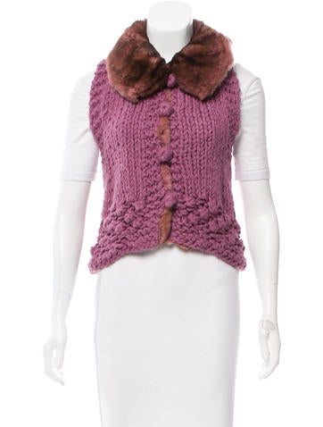 Ermanno Scervino Fur-Trimmed Knit Vest