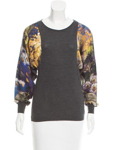 Escada Wool Floral-Accented Top None