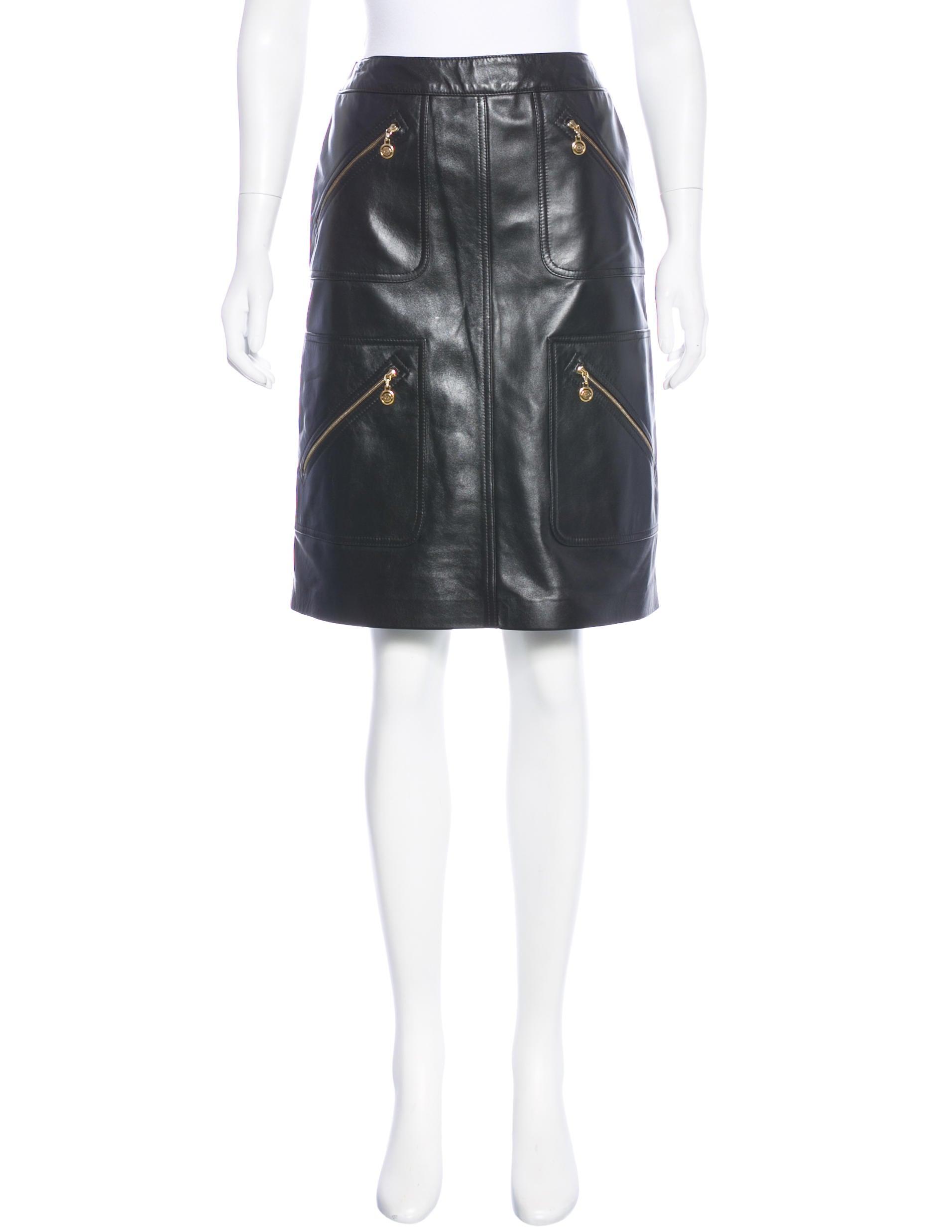 escada leather knee length skirt w tags clothing