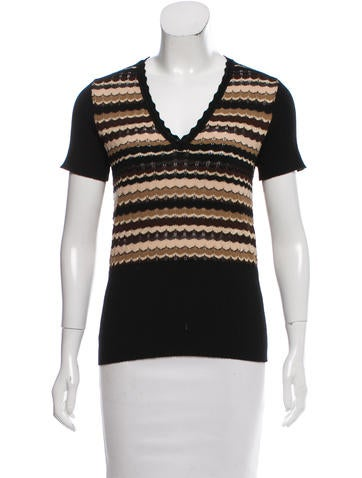 Escada Patterned Short Sleeve Sweater None
