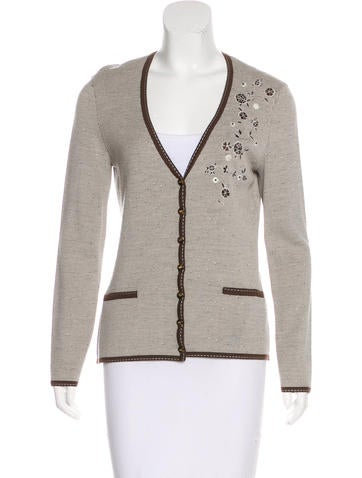 Escada Virgin Wool-Blend Embroidered Cardigan w/ Tags None