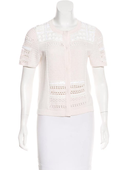 Escada Embellished Short Sleeve Cardigan white