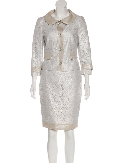 Escada Lace Skirt Suit metallic