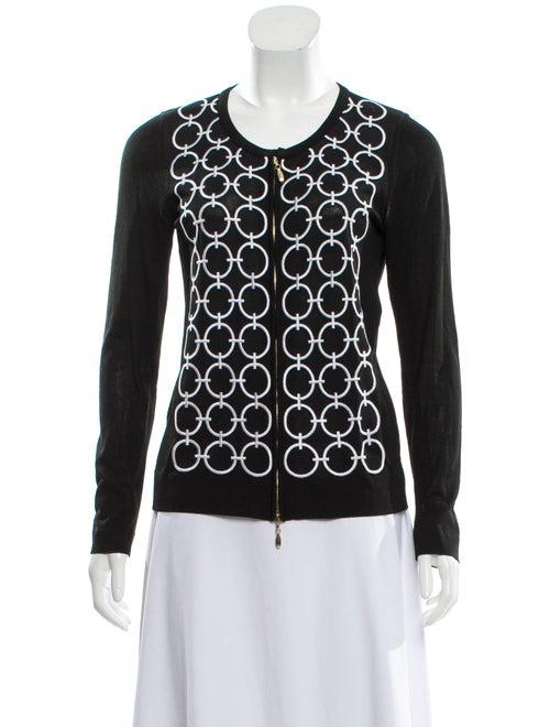 Escada Embroidered Knit Cardigan Black
