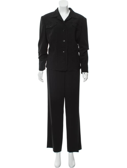 Escada Blazer Pant Suit Set Black