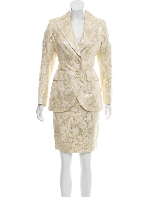 Escada Metallic Floral Patterned Skirt Suit Gold