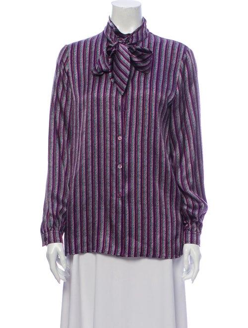 Escada Silk Printed Button-Up Top Purple