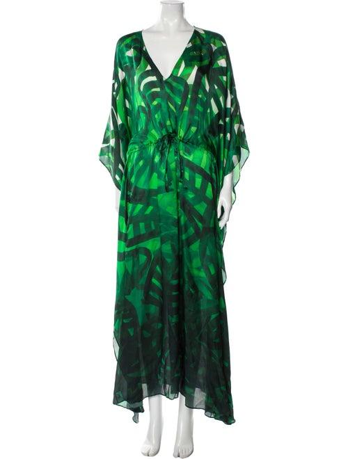 Escada Silk Long Dress Green