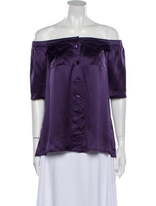 Escada Silk Off-The-Shoulder Button-Up Top Purple