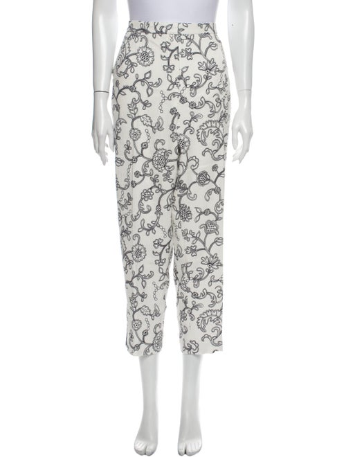 Escada Floral Print Straight Leg Pants Black