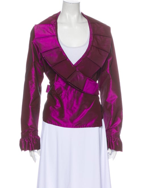 Escada Silk Long Sleeve Blouse Purple