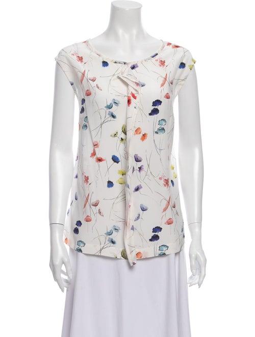 Escada Silk Floral Print Blouse White