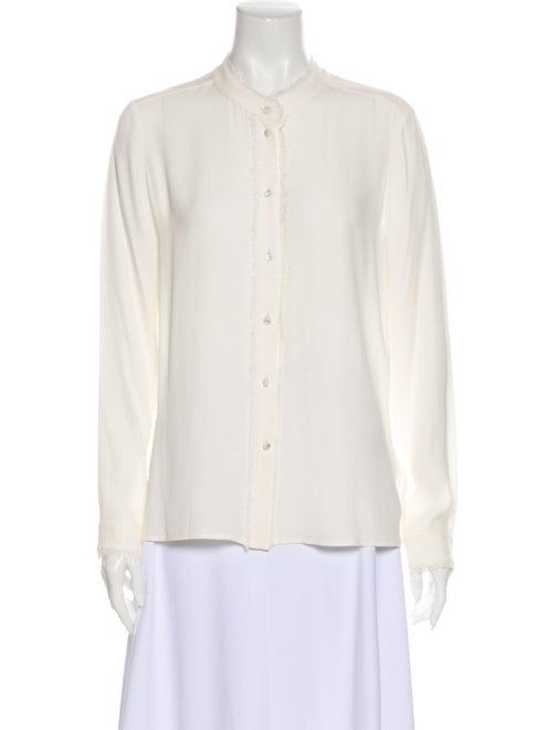 Escada Silk Long Sleeve Button-Up Top White