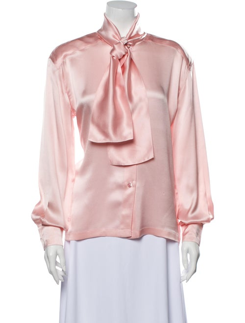 Escada Silk Mock Neck Blouse Pink - image 1