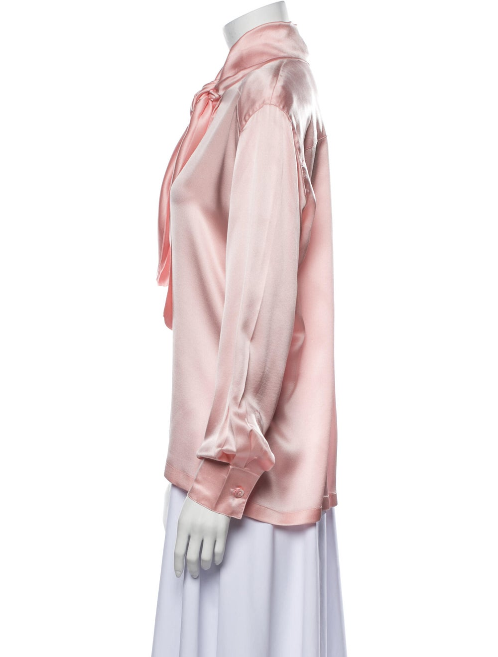 Escada Silk Mock Neck Blouse Pink - image 2