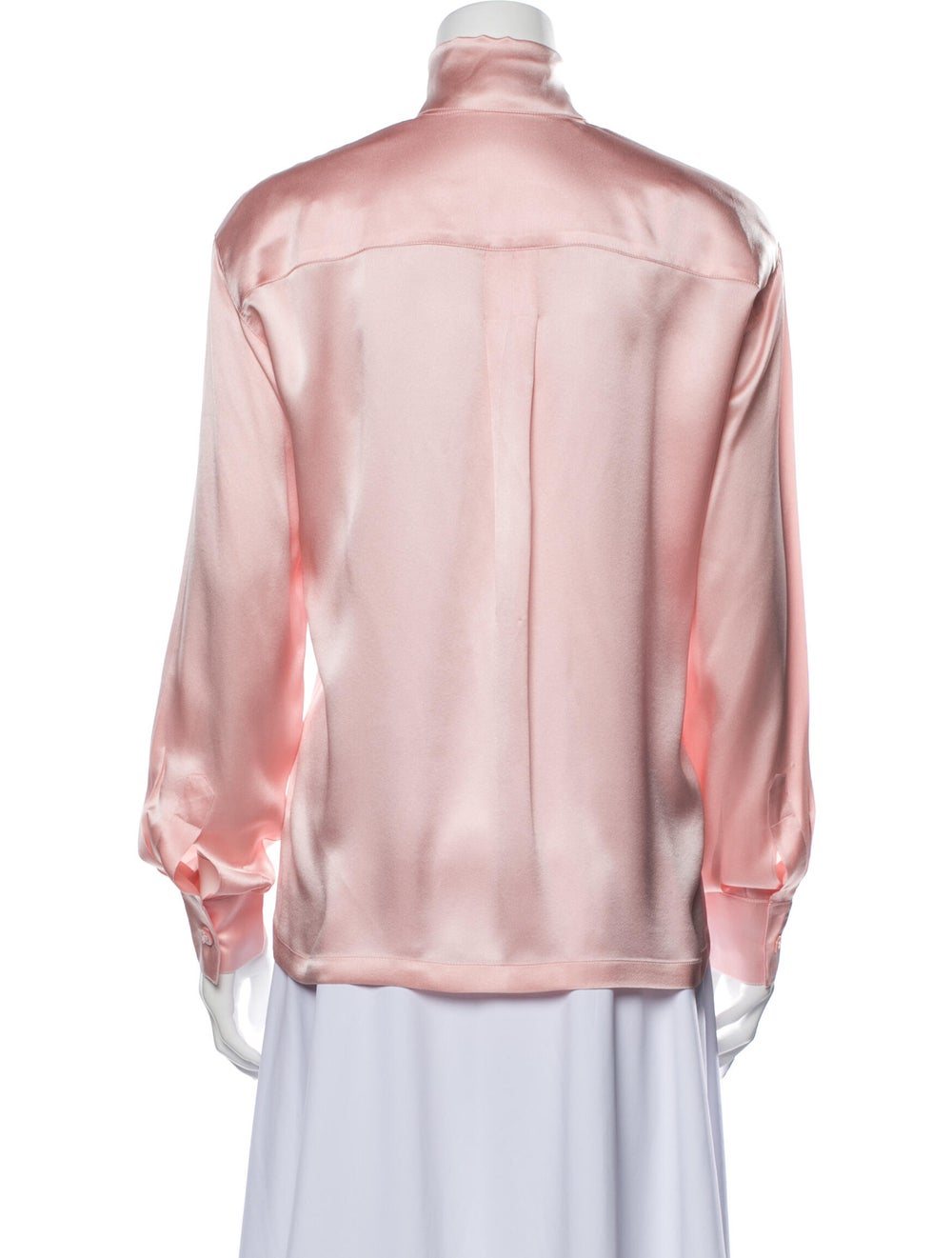 Escada Silk Mock Neck Blouse Pink - image 3