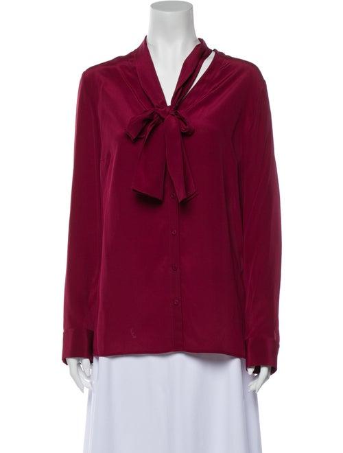 Escada Silk Tie Neck Blouse w/ Tags Red